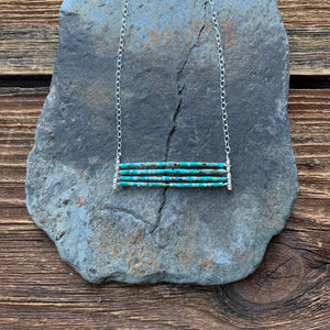 Turquoise aqua layered necklace. Turquoise beads with accents of silver.
