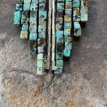 Load image into Gallery viewer, African turquoise waterfall necklace. Raw turquoise beads and accents of silver.