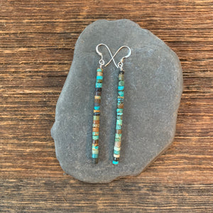Turquoise dangle earrings. Turquoise dangle hand cut turquoise earrings
