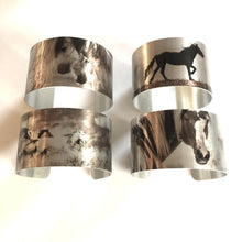 "Load image into Gallery viewer, ""Onaqui Journey""Aluminum Cuff Bracelet. Wild Horse Photo Cuffs. Onaqui Wild Horses."