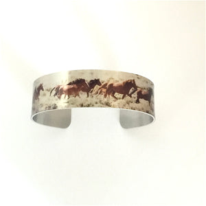 """Wild and Free"" Color Aluminum Cuff Bracelet."