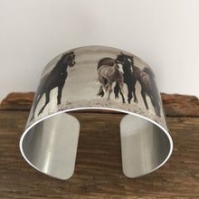 "Load image into Gallery viewer, Horse jewelryWild Horse Aluminum Cuff Bracelet. ""Hoofbeats"" Sand Wash Basin, CO"