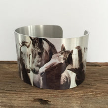"Load image into Gallery viewer, Horse jewelryWild Horse Aluminum Cuff Bracelet. ""Just me and the Boys"" Sand Wash Basin, CO"