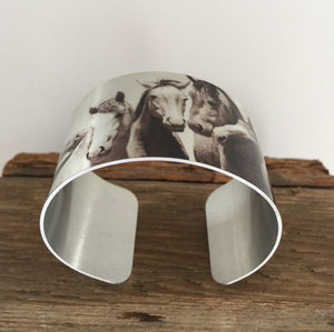 "Horse jewelryWild Horse Aluminum Cuff Bracelet. ""Just me and the Boys"" Sand Wash Basin, CO"