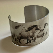 "Load image into Gallery viewer, Aluminum Cuff Bracelet. Wild Horse Photo Cuffs ""Chasing the Wind"""