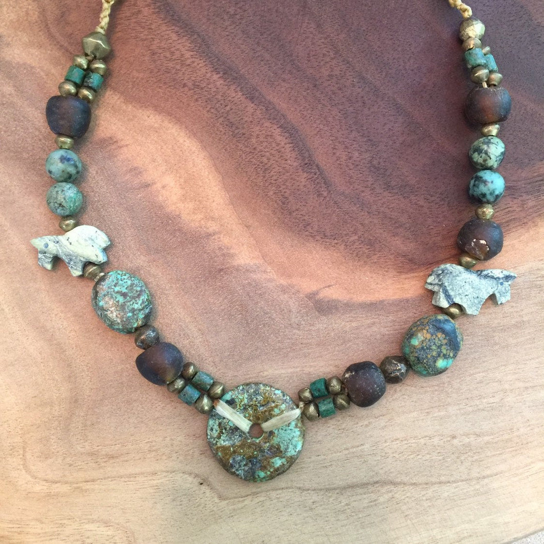Turquoise necklace with jade and stone highlights. Bohemian turquoise necklace .