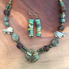 Load image into Gallery viewer, Turquoise necklace with jade and stone highlights. Bohemian turquoise necklace .