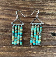 Load image into Gallery viewer, Turquoise dangle earrings. Raw turquoise.