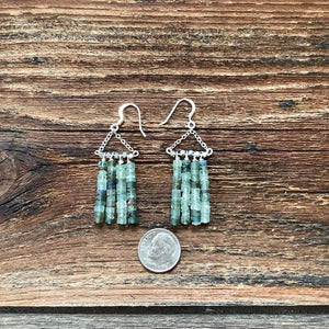 Ancient glass beads dangle earrings.Greek glass beads