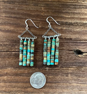 Turquoise dangle earrings. Raw turquoise.