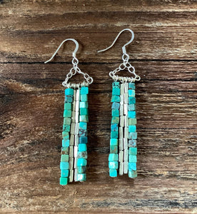 Turquoise dangle earrings. Turquoise cube beads with silver accent beads.