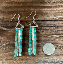 Load image into Gallery viewer, Turquoise dangle earrings. Turquoise cube beads with silver accent beads.