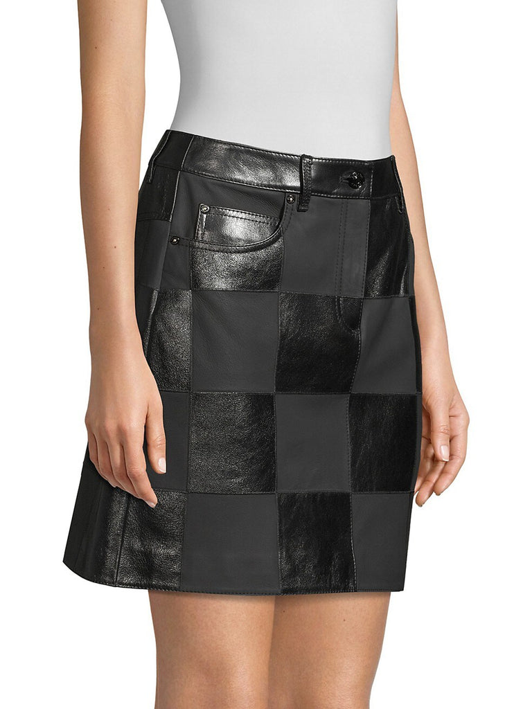 Escada Sport Lalla Checked Leather Mini Skirt side