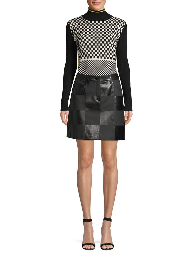 Escada Sport Lalla Checked Leather Mini Skirt model