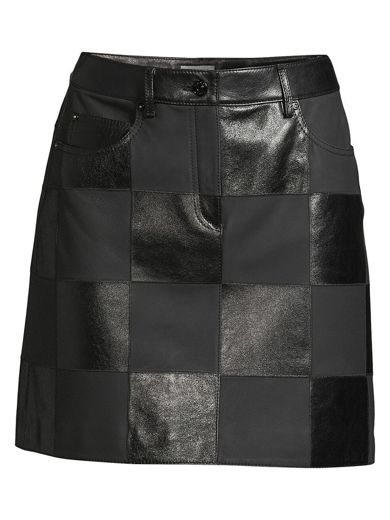 Escada Sport Lalla Checked Leather Mini Skirt