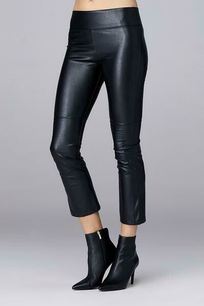 David Lerner Gemma Midrise Vegan Leather Pants in Black