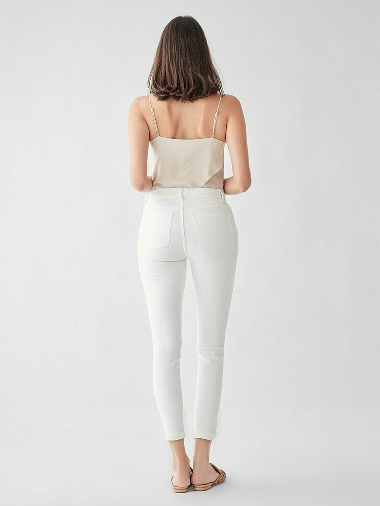 DL 1961 Farrow Cropped High Rise Skinny Jean in Quill back