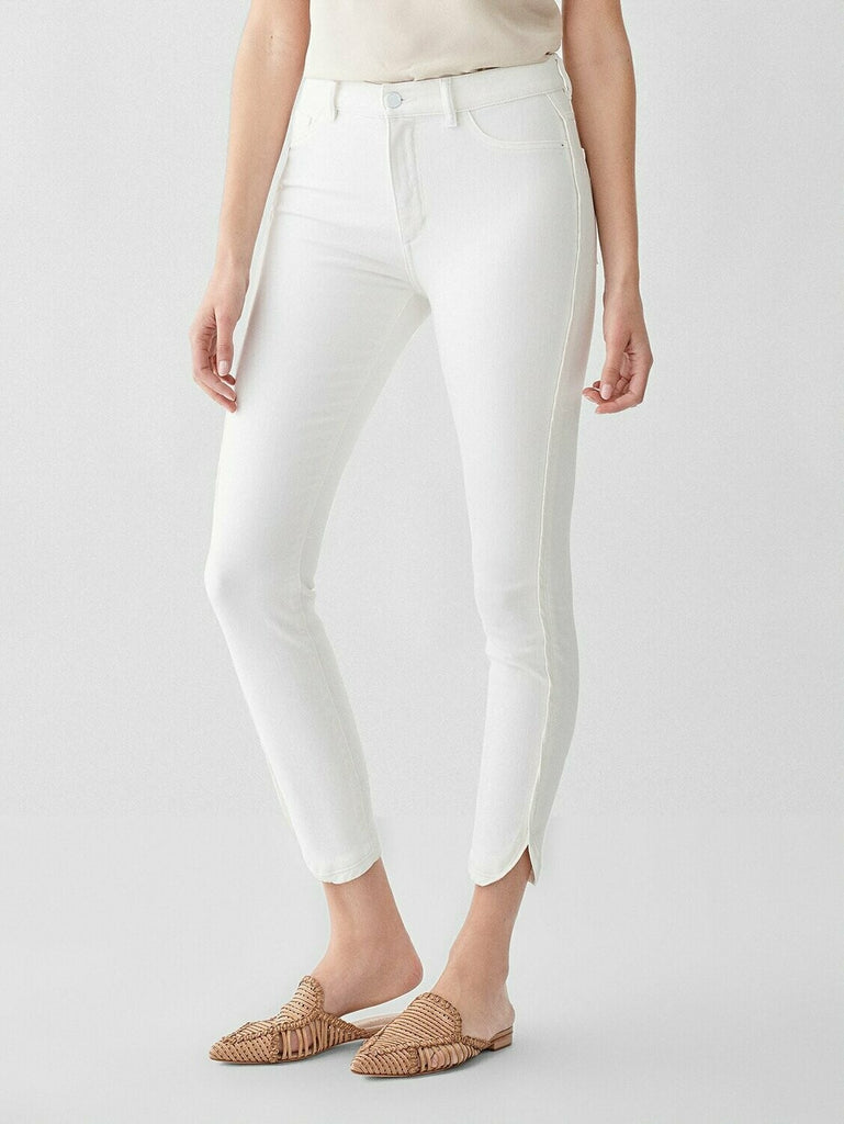 DL 1961 Farrow Cropped High Rise Skinny Jean in Quill side