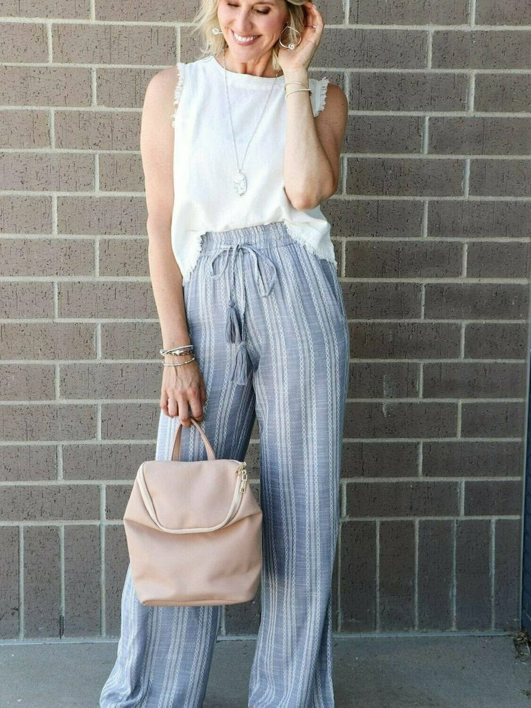 Elan Pants With Elastic Waistband In Denim
