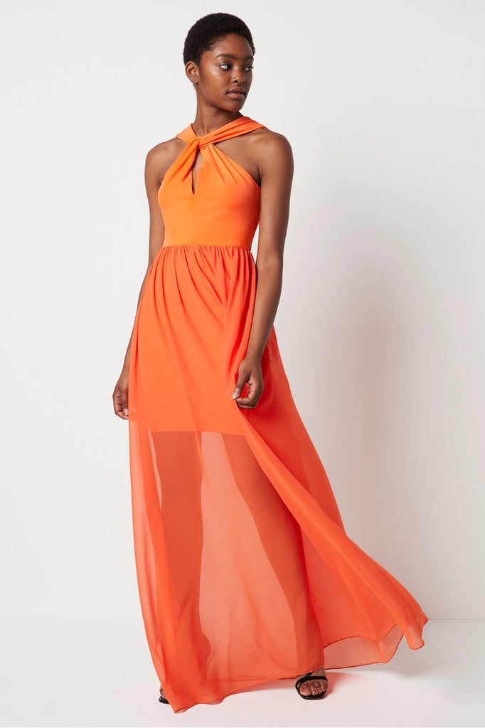 French Connection Panthea Jersey Twist Halter Maxi Dress