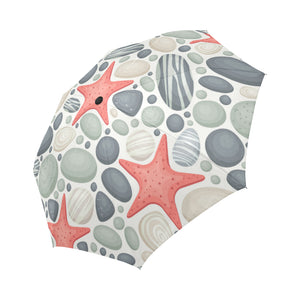 Ocean Stones and Sea Stars Auto-Foldable Umbrella (Model U04)