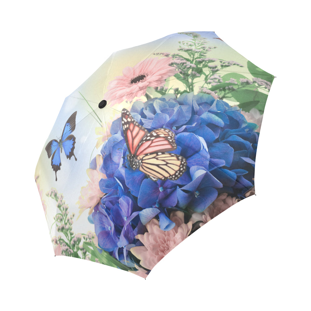 blue hydrangeas and butterfly Auto-Foldable Umbrella (Model U04)