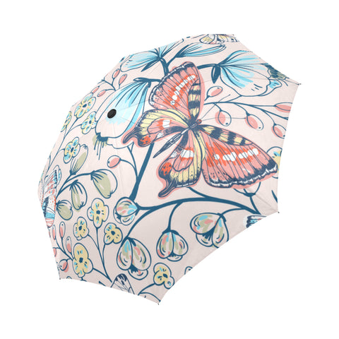 Floral Pattern with Vintage Butterflies and Flower Auto-Foldable Umbrella (Model U04)