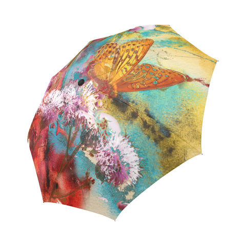 Butterfly and abstract painting Auto-Foldable Umbrella (Model U04)