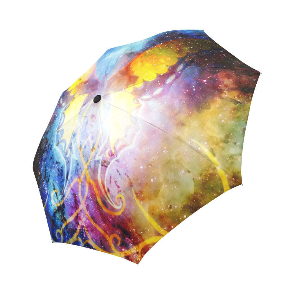 butterfly with ornament in cosmic space Auto-Foldable Umbrella (Model U04)
