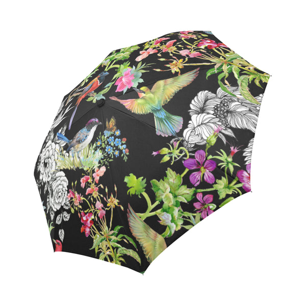colorful birds and butterfly watercolor Auto-Foldable Umbrella (Model U04)