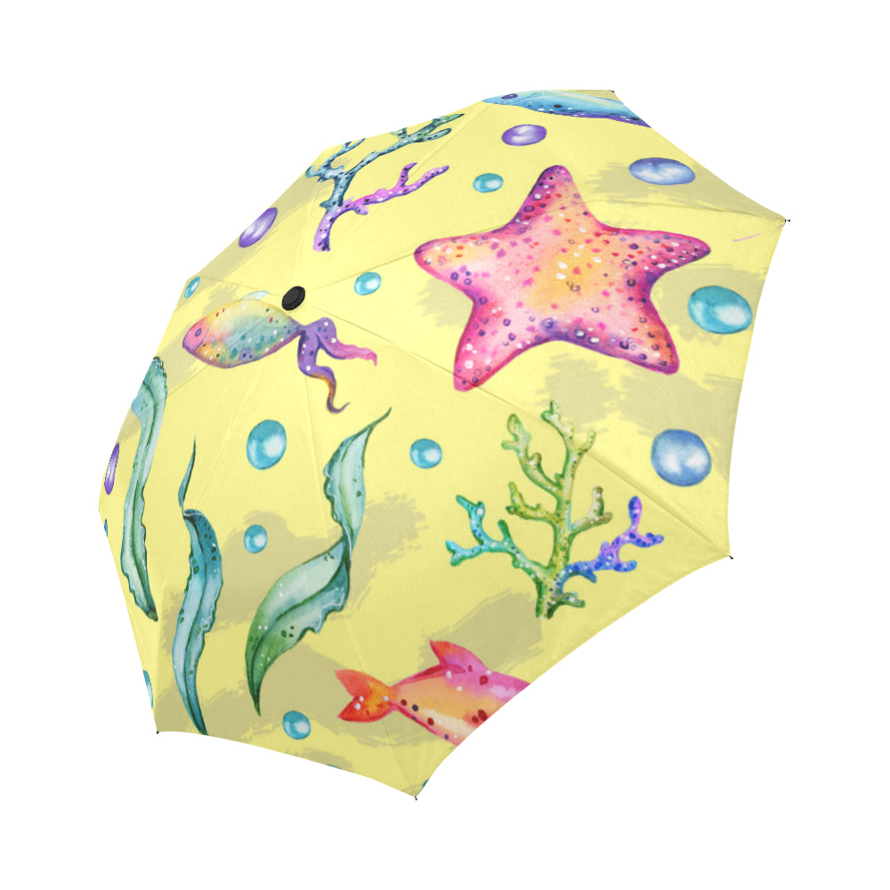 watercolor marine jellyfish water plants starfish Auto-Foldable Umbrella (Model U04)