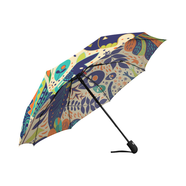Tropical backdrop with animals Auto-Foldable Umbrella (Model U04)