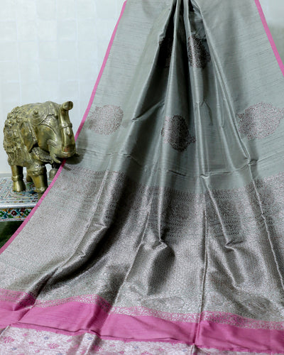 ENGLISH GREY KADHWA RAW SILK BANARASI HANDLOOM SAREE