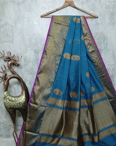 BLUE MEENA BUTA CHANDERI SILK BANARASI HANDLOOM SAREE