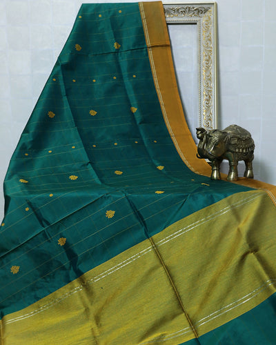 TEAL GREEN CHECKS KADHWA KATAN SILK BANARASI HANDLOOM SAREE