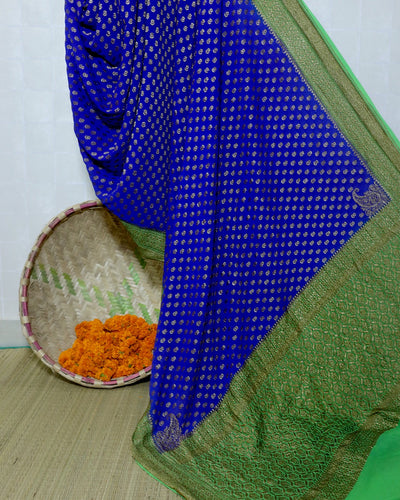 ROYAL BLUE KHADDI GEORGETTE KONIA BUTA BANARASI HANDLOOM SAREE