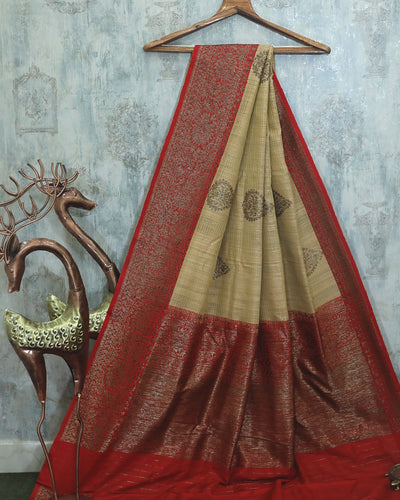 OFF-WHITE DUPION SILK BANARASI HANDLOOM SAREE