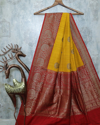 YELLOW DUPION SILK BANARASI HANDLOOM SAREE
