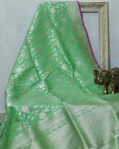 LIGHT GREEN KATAN SILK UPPADA BANARASI HANDLOOM SAREE