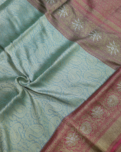 STEEL GREY BROCADE JAMAWAR KATAN SILK BANARASI HANDLOOM SAREE