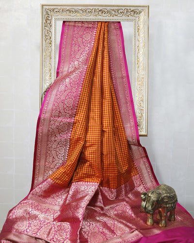 ORANGE CHECKS KATAN SILK BANARASI HANDLOOM SAREE
