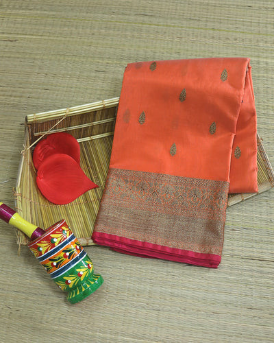PEACH CHANDERI SILK BANARASI HANDLOOM SAREE
