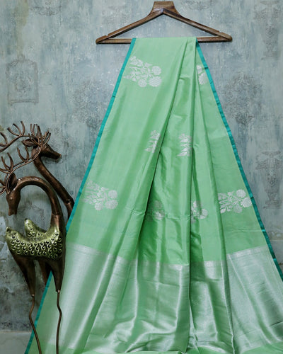 LIGHT GREEN KADHWA KATAN SILK BANARASI HANDLOOM SAREE