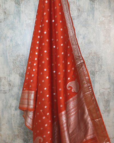 RUST ORANGE KORA ORGANZA KONIA BUTA BANARASI HANDLOOM SAREE
