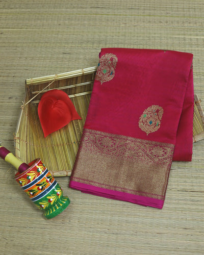 PINKISH RED MEENA BUTI CHANDERI SILK BANARASI HANDLOOM SAREE