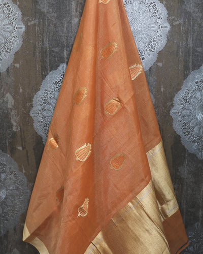 PEACH TISSUE SILK BANARASI HANDLOOM SAREE