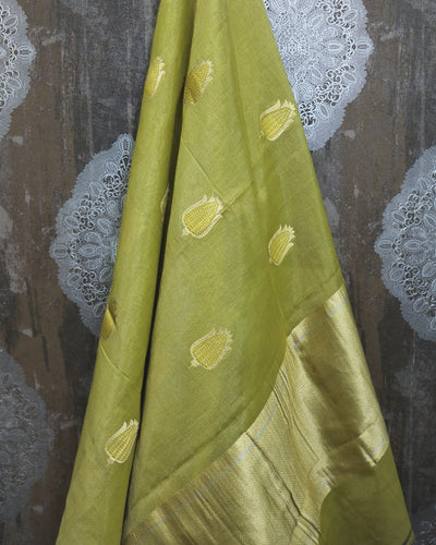 GREEN TISSUE SILK BANARASI HANDLOOM SAREE