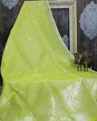 YELLOW LINEN SILK BANARASI HANDLOOM SAREE