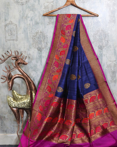 ROYAL BLUE MEENAKARI BORDER TUSSAR SILK BANARASI HANDLOOM SAREE