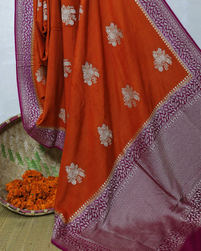 ORANGE MONGA SILK BANARASI HANDLOOM SAREE